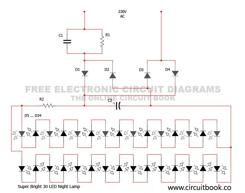 Super Bright 30 Led Night Lamp Circuit Diagram